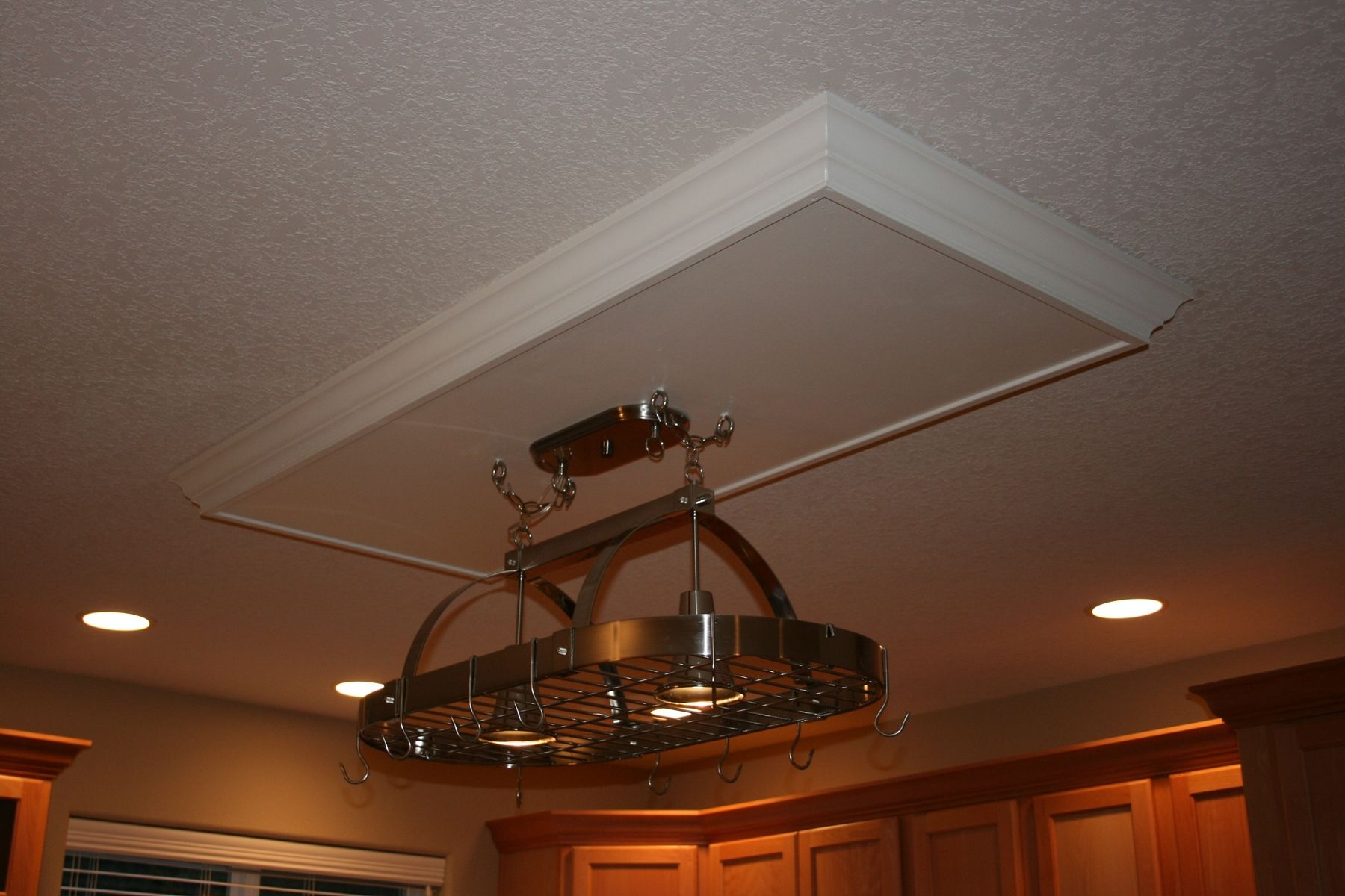 Hanging Drop Lights Handmade Drop Ceiling With Hanging Pot Rack By Charles