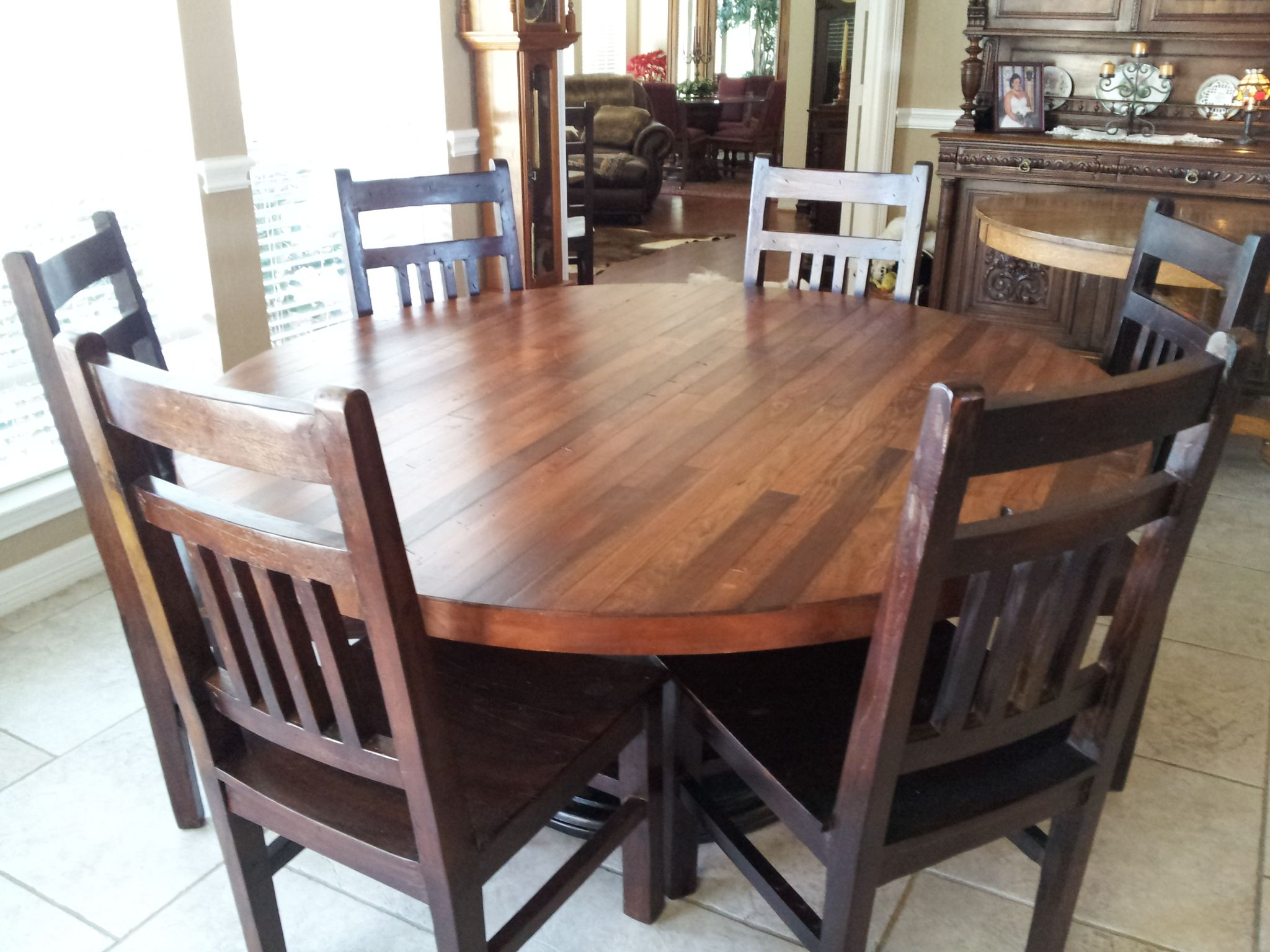 Circle Round Farmhouse Dining Table Hand Made Hand Crafted 66 Inch Plank Top Dining Table By B