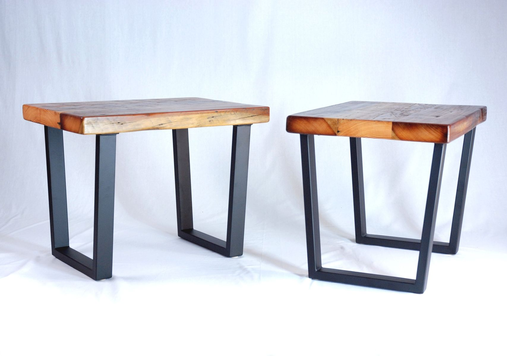 Industrial Look End Tables Custom Industrial Reclaimed Timber End Table Set By