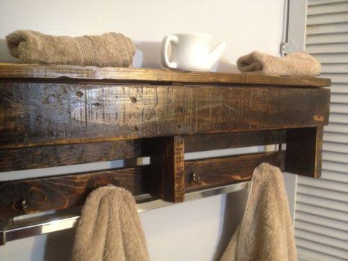 Medium Of Wooden Shelves In Bathroom