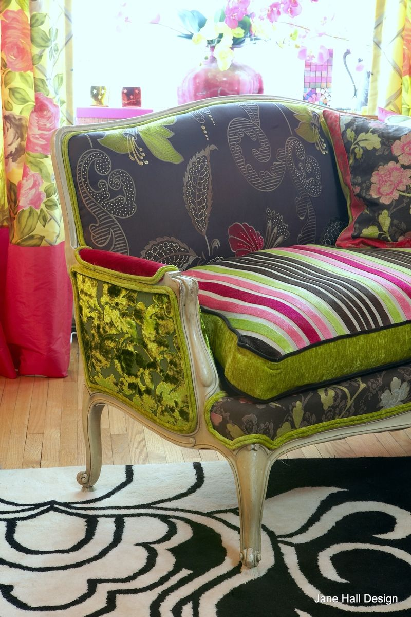 Patchwork Sofa Custom Antique Upholstered Settee In Designers Guild