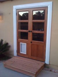 Handmade Custom French Doors With Dog Door by Glerup ...