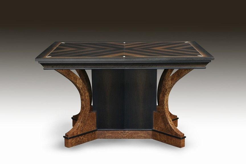 Meuble Steampunk Hand Crafted Art Deco Bog Oak And Ivory Dining Table By