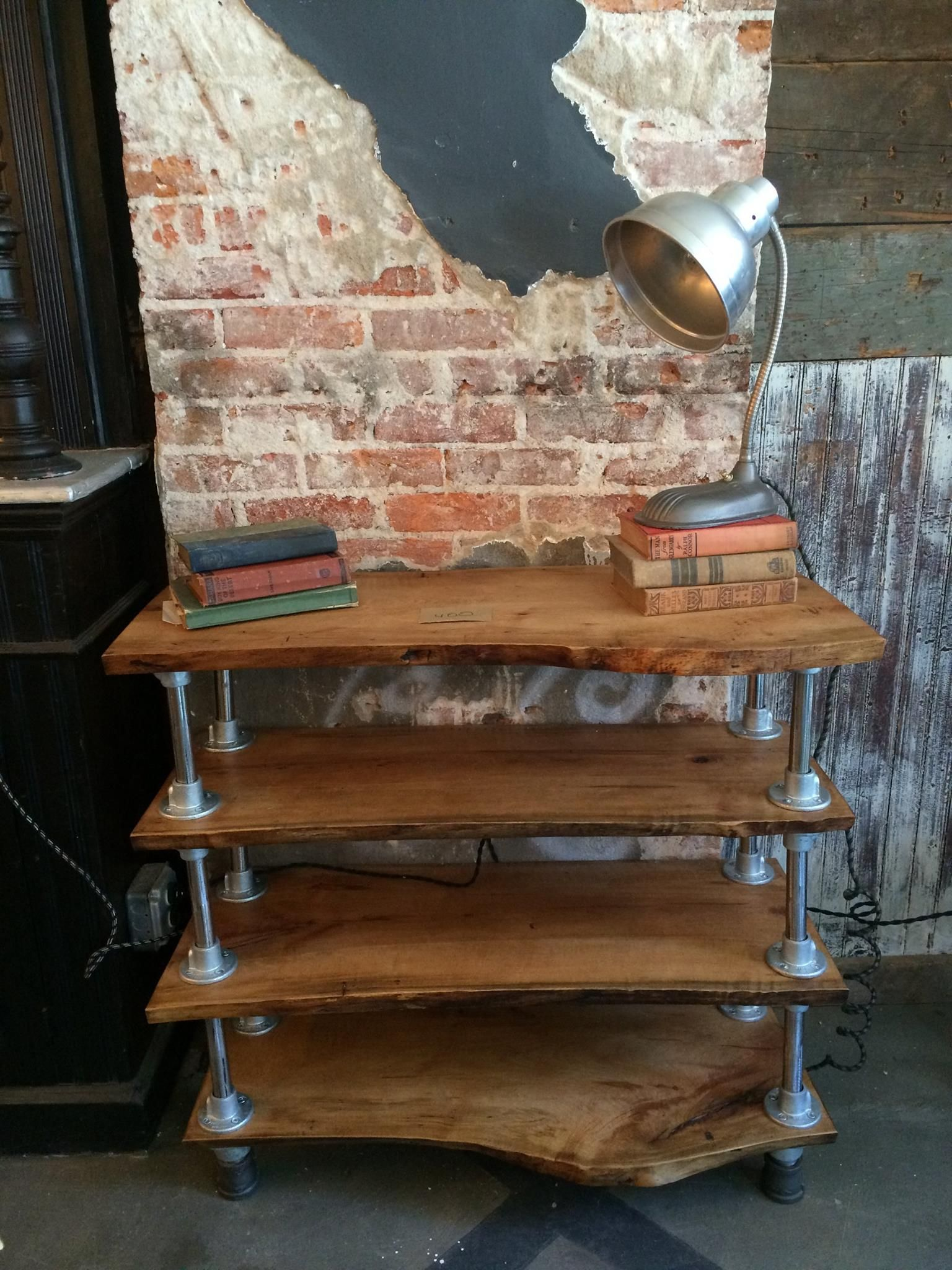 Mid Century Modern Bookcase Hand Made Reclaimed Live Edge Bookcase With Piping By Funk