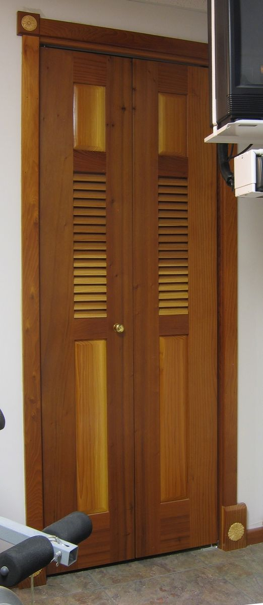 Madecom Hand Crafted Bi-fold Redwood Louvered Door By The Western