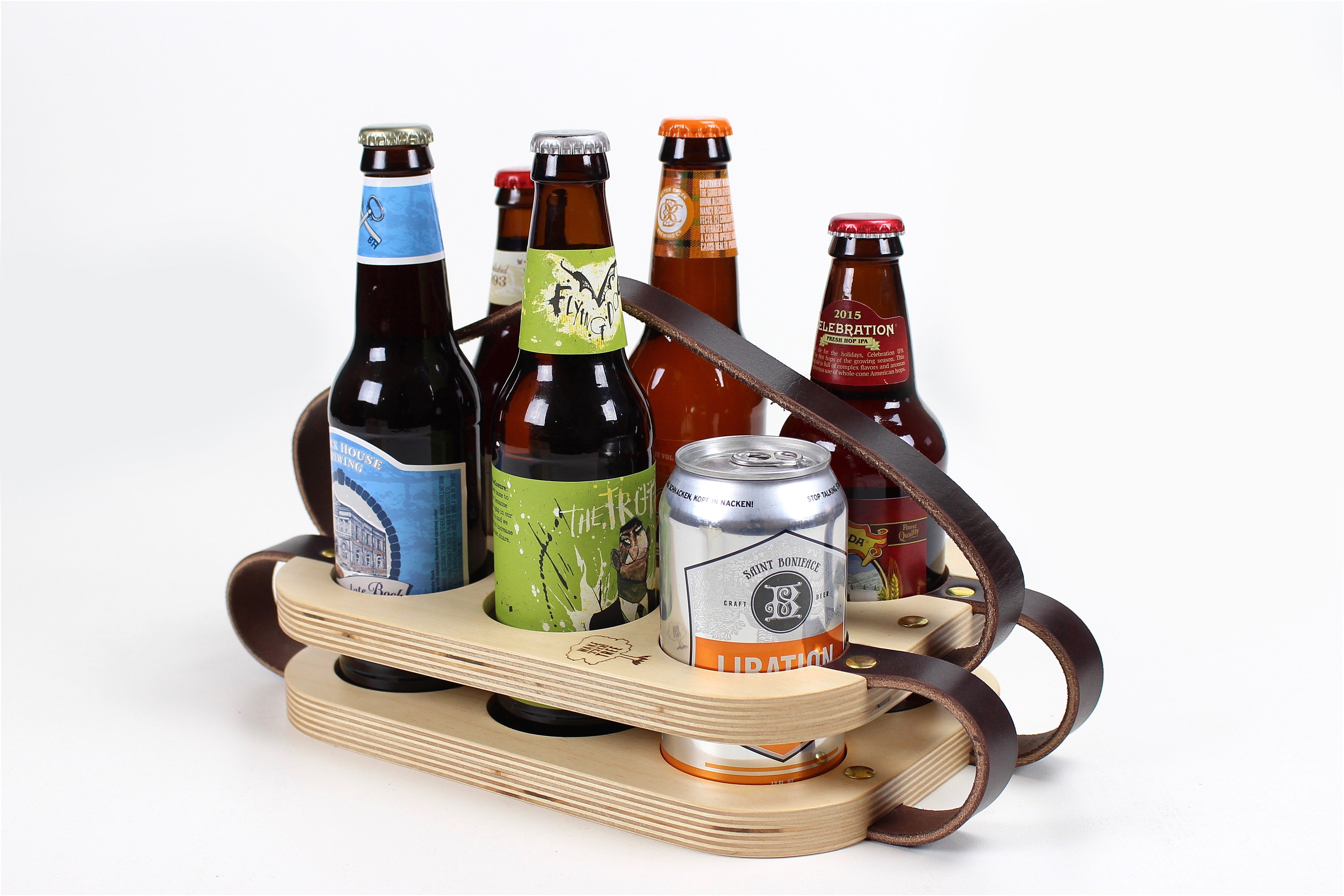 Bier Houder Buy A Custom Six Pack Carrier Wood And Leather Beer