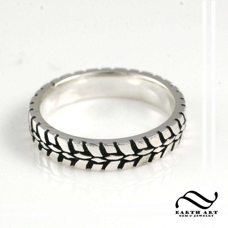 earthartgemandjewelry mud tire wedding ring Ladies Plain Tire Tread Ring