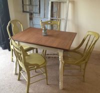 Hand Crafted Vintage Small Kitchen Table With Four Miss ...