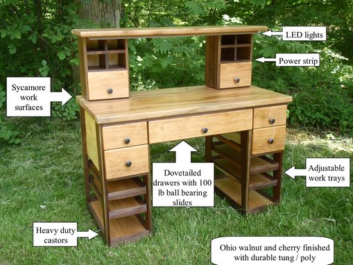 Wood Desk Designs Hand Made Hobby Work Bench/desk/table By Custom Furniture