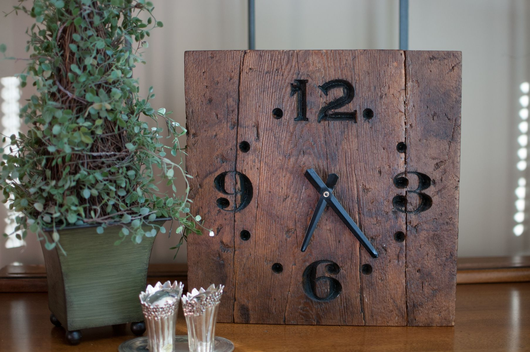 Salient Custom Made Rustic Reclaimed Wood Clock Hand Made Rustic Reclaimed Wood Clock By Green Gift Idea Wooden Wall Clocks Wooden Desk Clocks furniture Unique Wooden Clocks