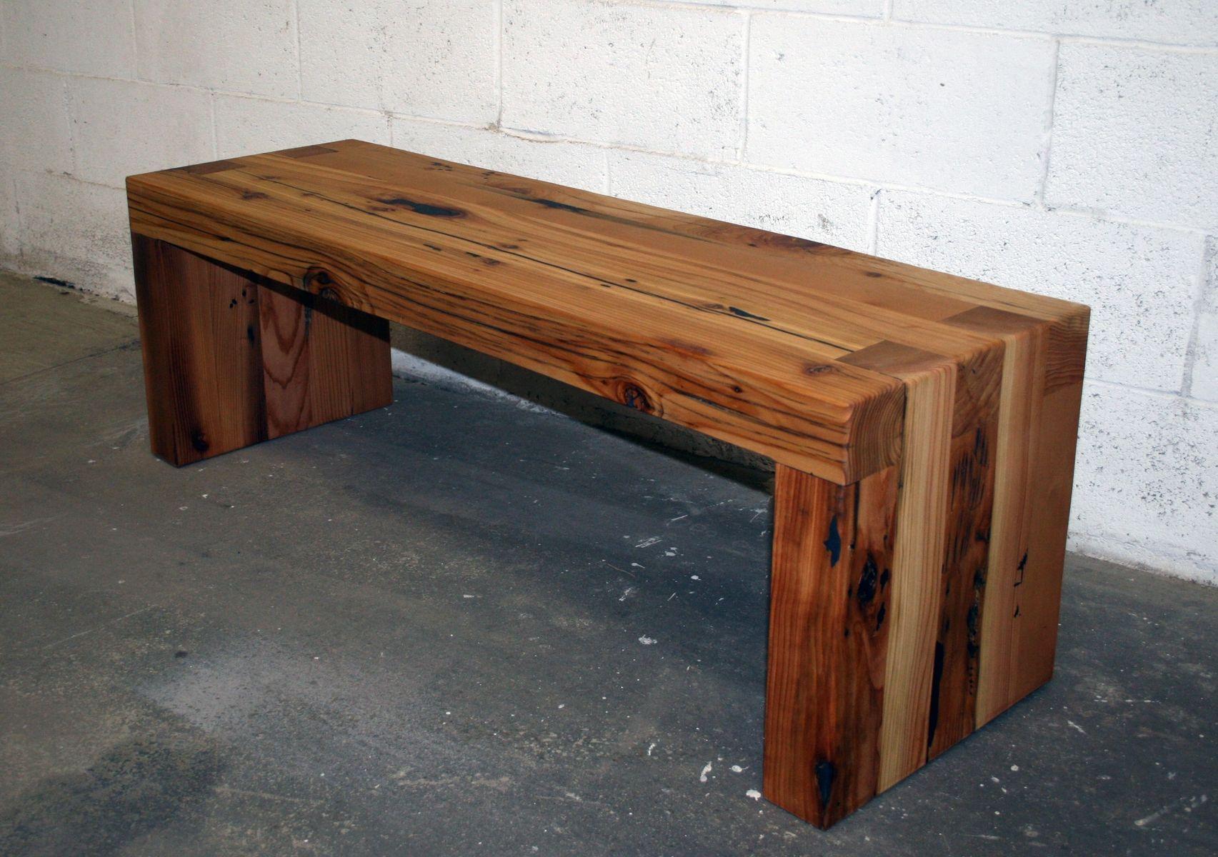 Custom made reclaimed cedar box joint bench coffee table