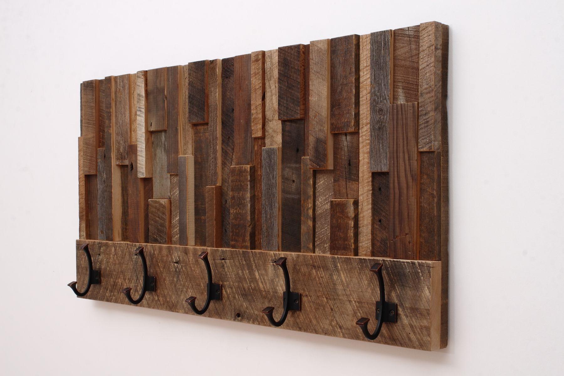 Custom Made Reclaimed Wood Art Coat Rack 36x185x4 By