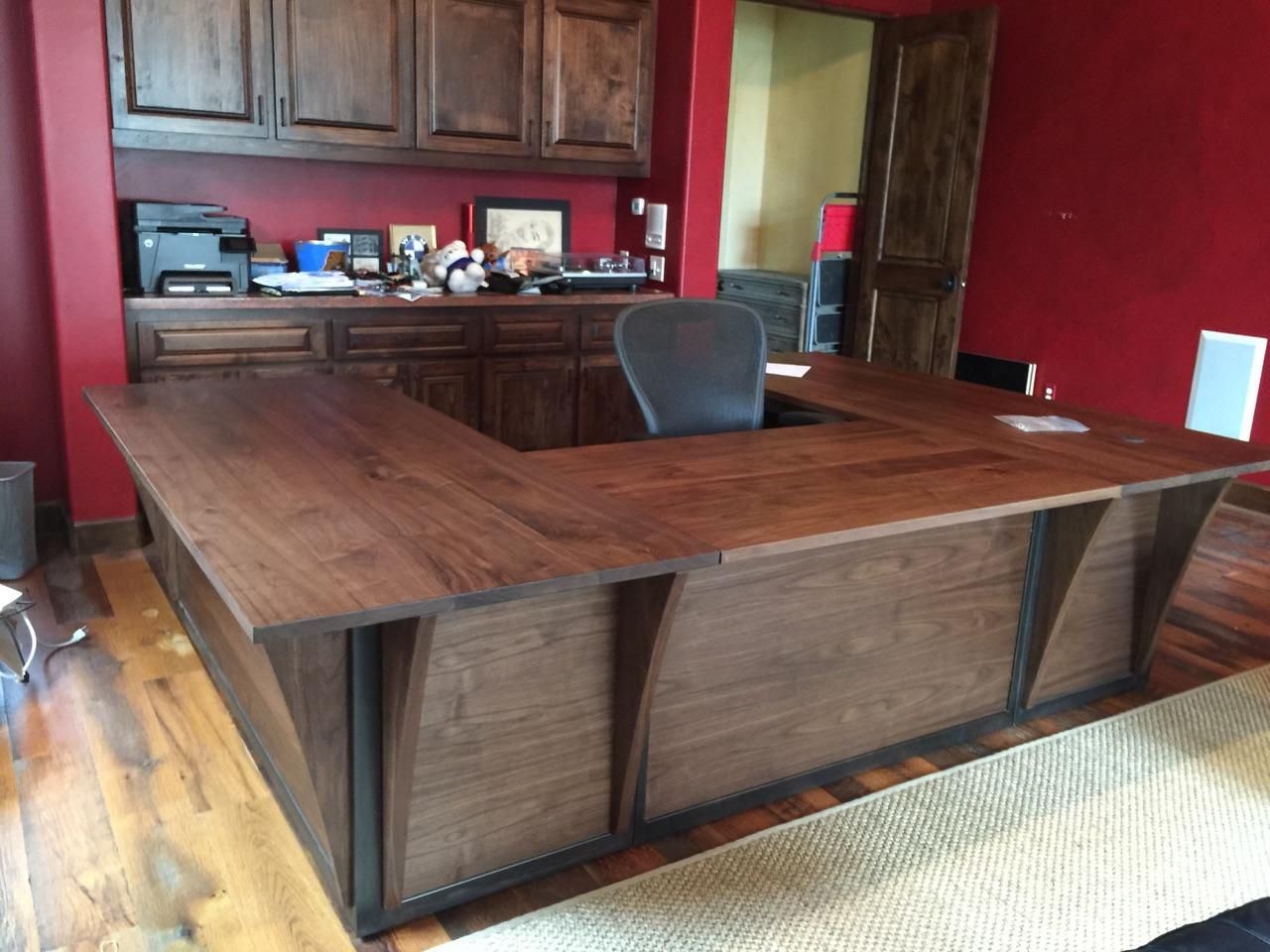 Customs Desk Custom Steel And Walnut Contemporary Desk Workstation By