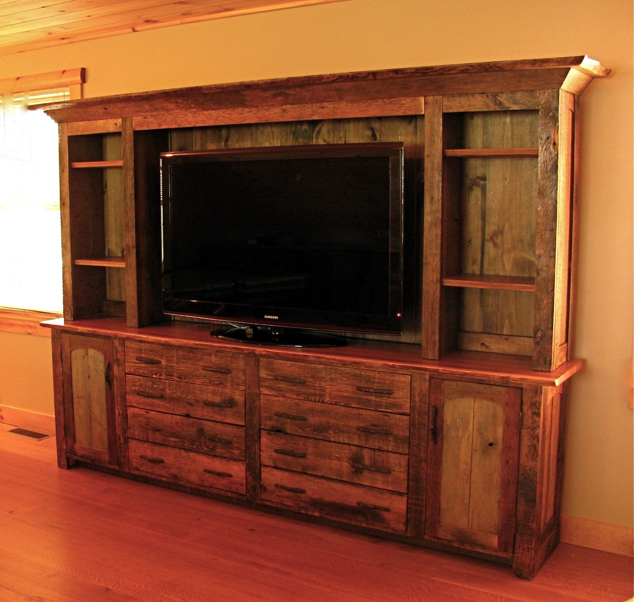 Pine Entertainment Unit Hand Made Rustic Entertainment Center By Custom Rustic