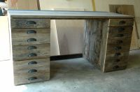 Hand Made Reclaimed Oak Wood Desk by Wooden
