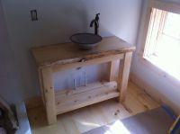Handmade Rustic Pine Vanity With Vessel Sink by Wooden ...
