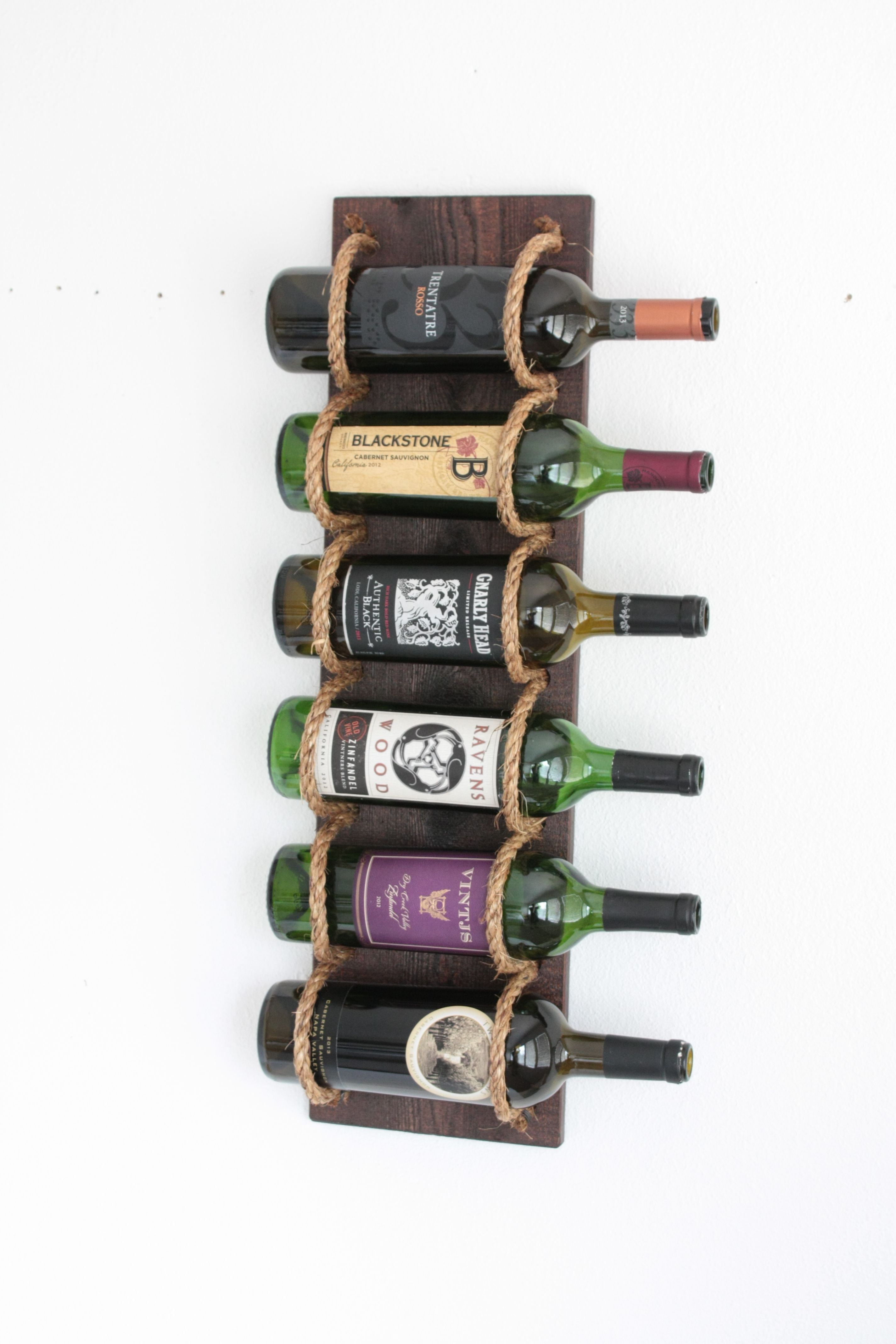 6 Bottle Wine Rack Wall Mount Buy Hand Made Wood Wall Mounted Wine Rack With Rope
