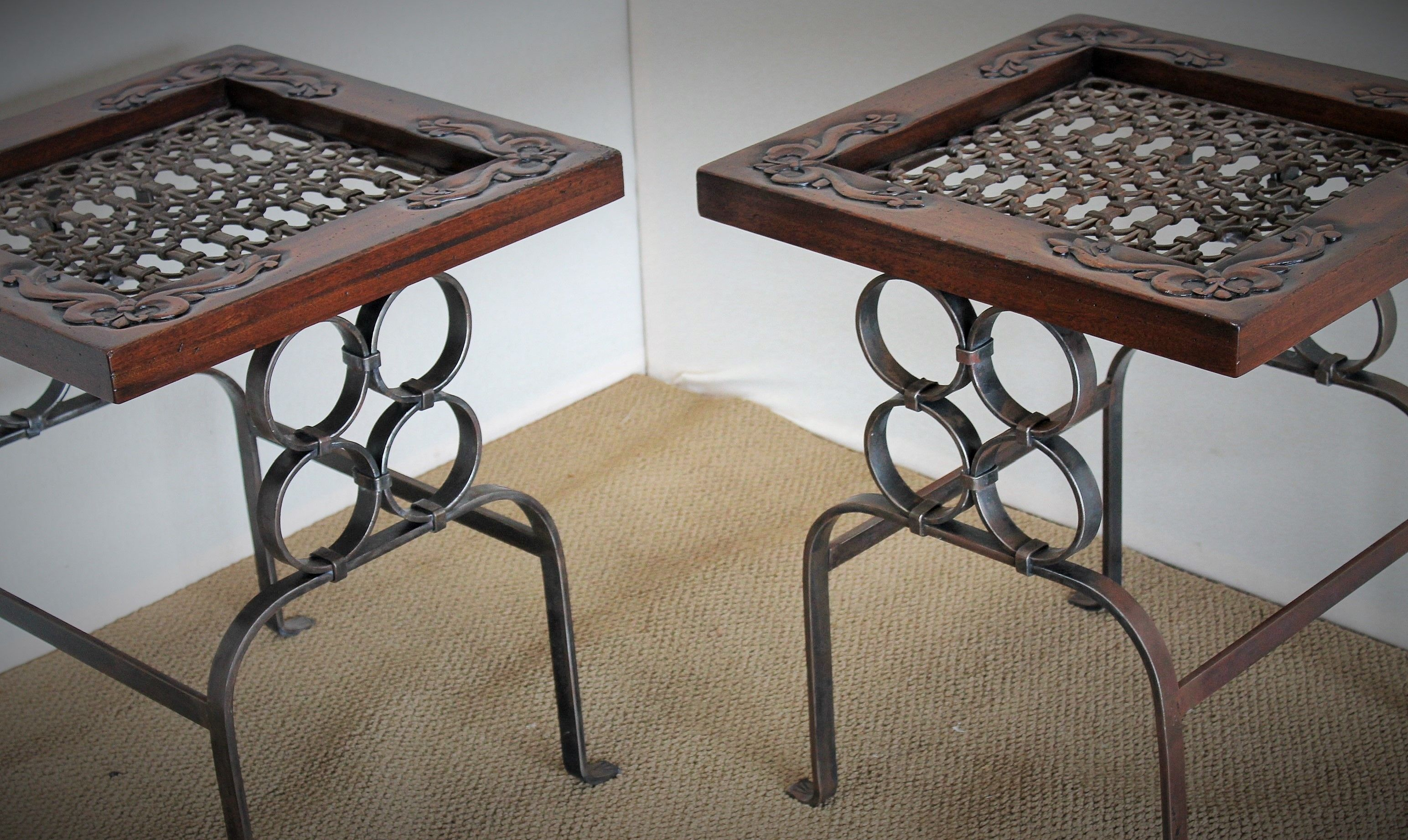 Iron Side Tables For Living Room Hand Crafted Antique Wrought Iron Wood And Iron End Table