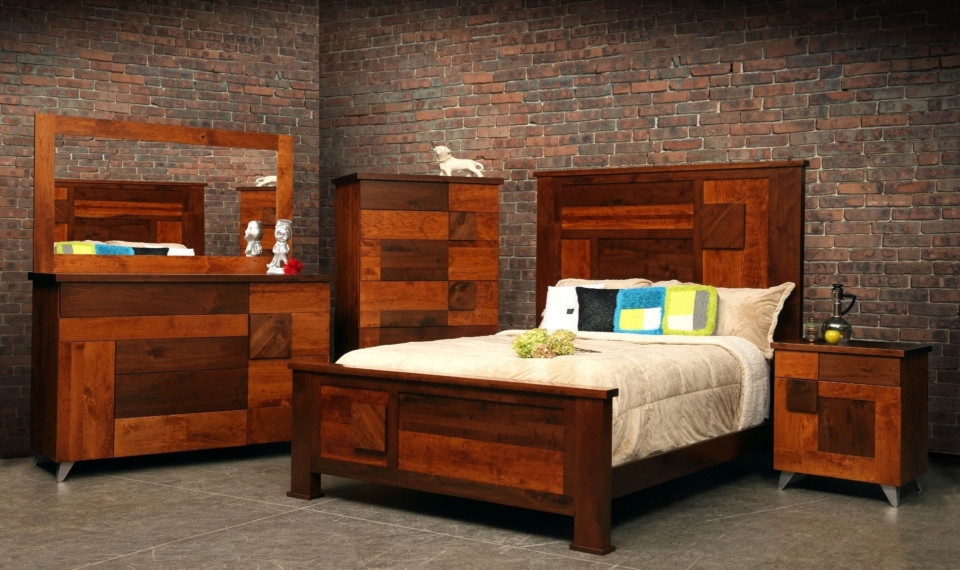 Bedroom Set Including Mattress Hand Crafted Arial Fields Modern Walnut And Cherry Bedroom