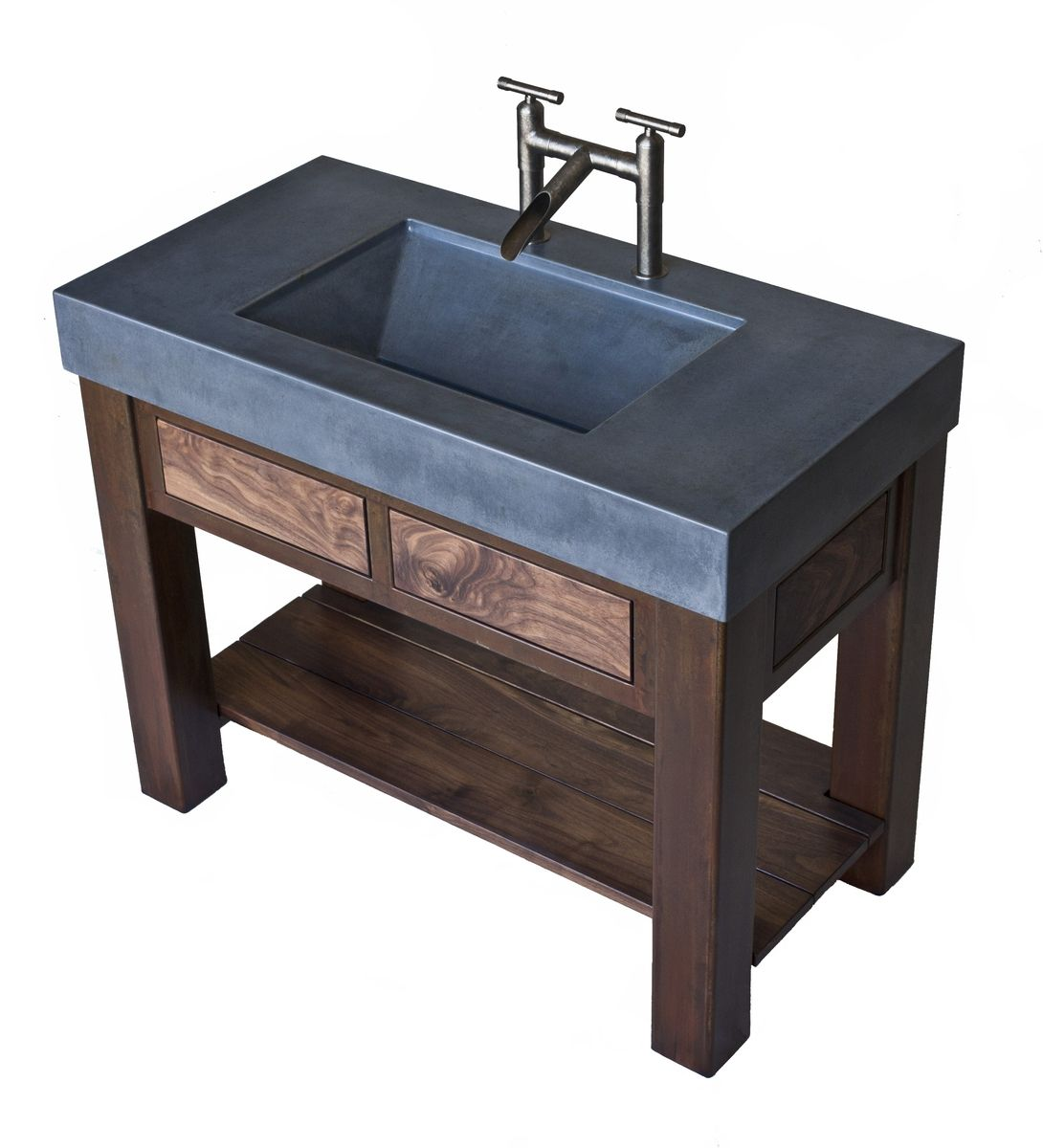 Hand Crafted Steel And Walnut Vanity With Integral
