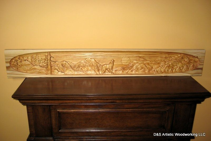 Madecom Hand Made Carved Fireplace Mantel Insert With Wolf By D&s
