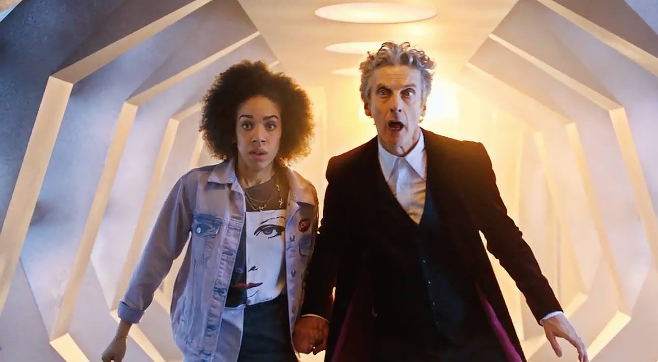 Doctor who played by peter capaldi and bill his companion played by pearl mackie bbc america