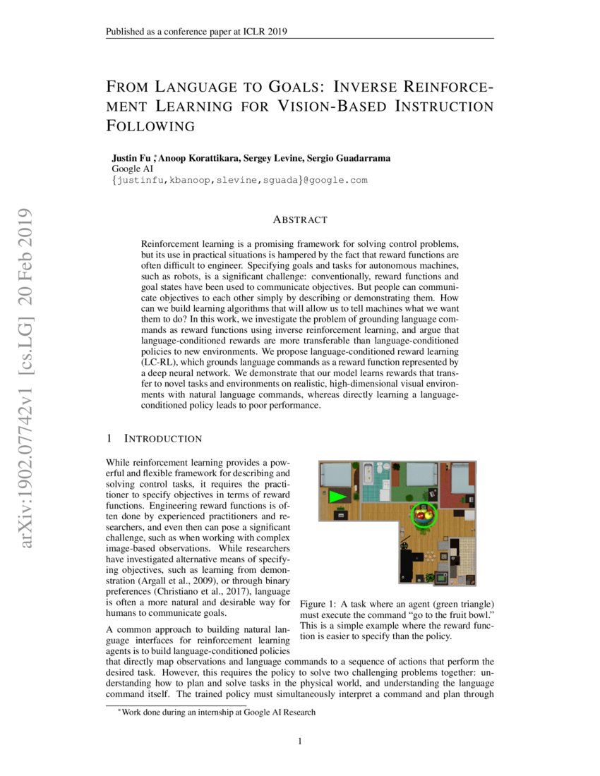 Renforce Learning From Language To Goals Inverse Reinforcement Learning For