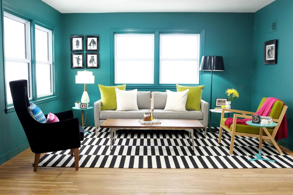 22+ Teal Living Room Designs, Decorating Ideas Design Trends - black and white living room decor
