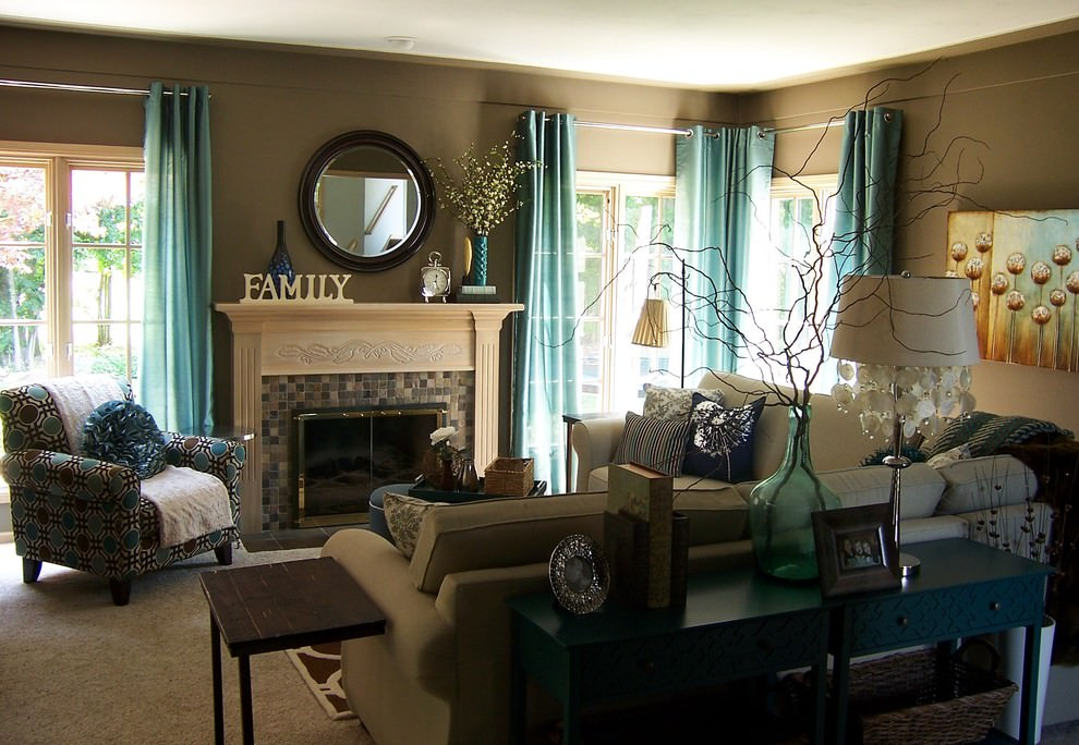 22+ Teal Living Room Designs, Decorating Ideas Design Trends - teal living room curtains