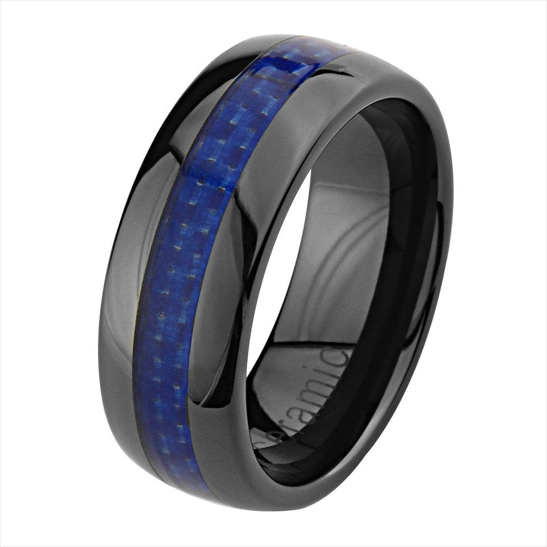 black and blue wedding ring law enforcement wedding bands Ceramic Wedding Band