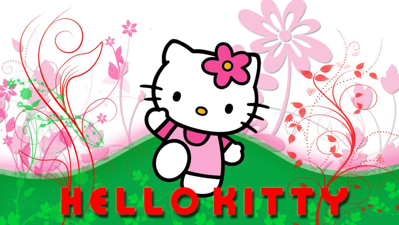 Black And White Floral Wallpaper 30 Hello Kitty Backgrounds Wallpapers Images Design