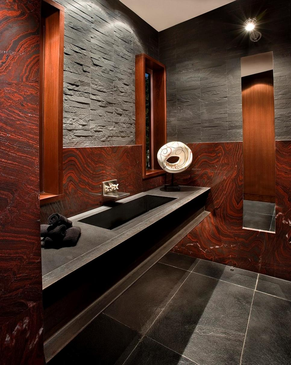 ... Red Gray Bathroom With Black Floating Vanity. Download