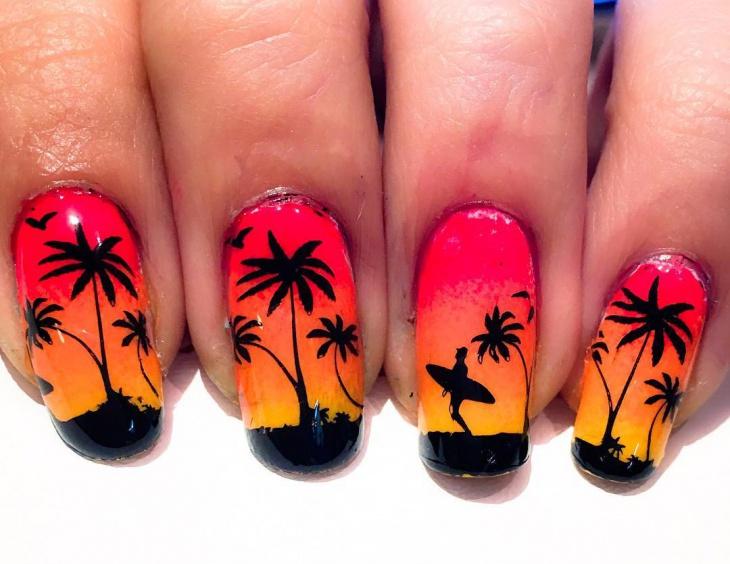 Beautiful 21 Sunset Nail Art Designs Ideas Design Trends Premium Psd