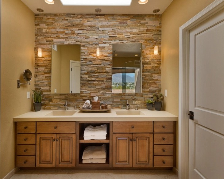 21 Modern Stone Wall Bathroom Designs Decorating Ideas Design Trends Premium Psd Vector