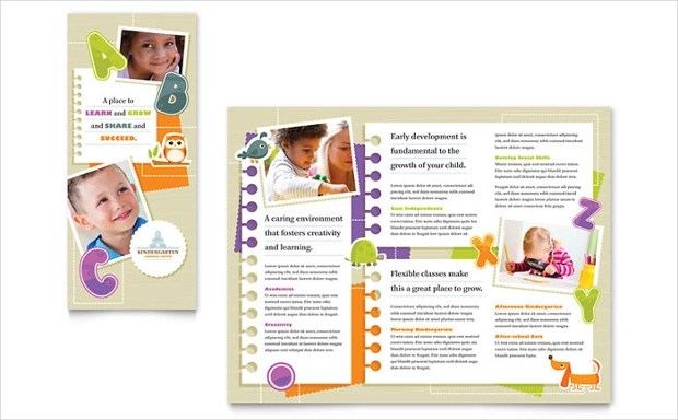 pastel pediatric center doctor baby trifold brochure childcare