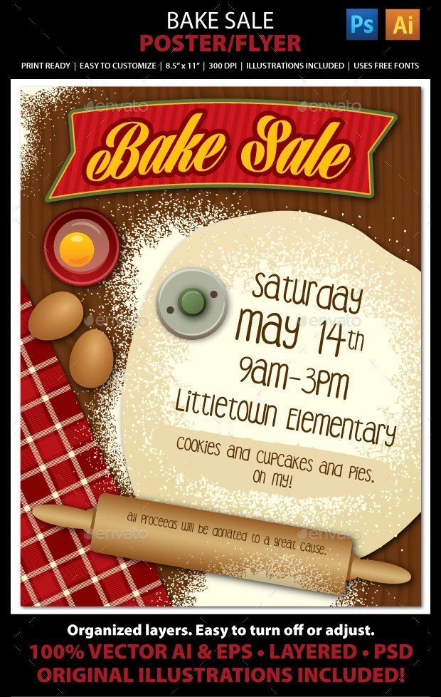 25+Bake Sale Flyer Templates - Ms Word, Publisher, Photoshop