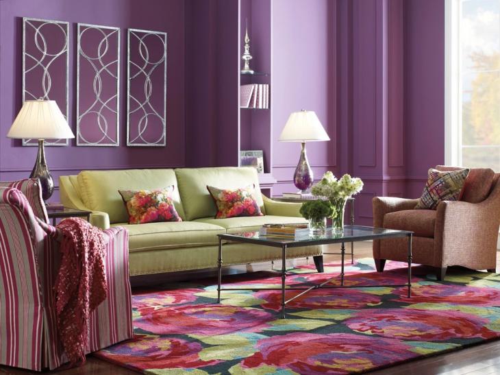 18+ Purple Living Room Designs, Ideas