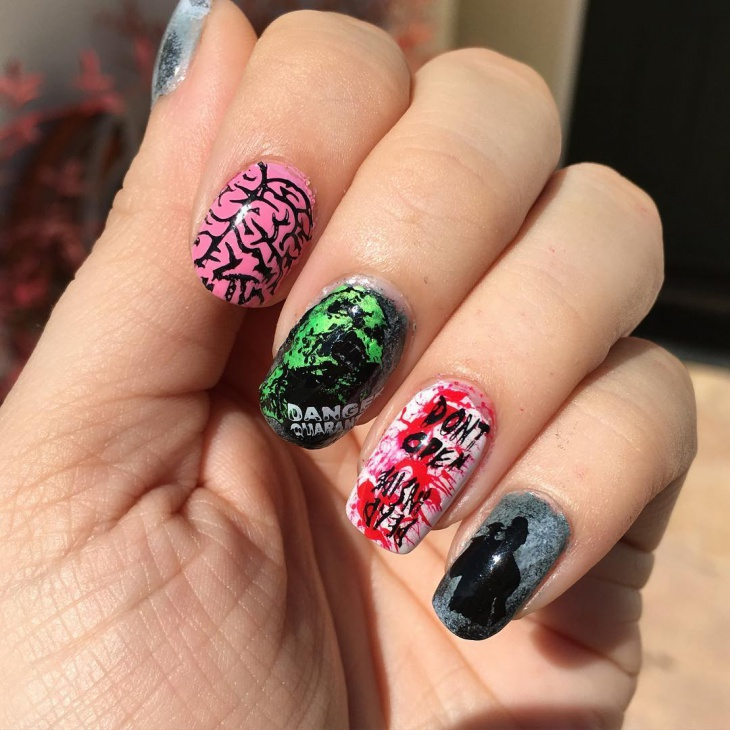 21 Zombie Nail Art Designs Ideas Design Trends