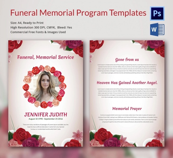 5 Funeral Memorial Templates \u2013 Free Word, PDF, PSD Documents - memorial program