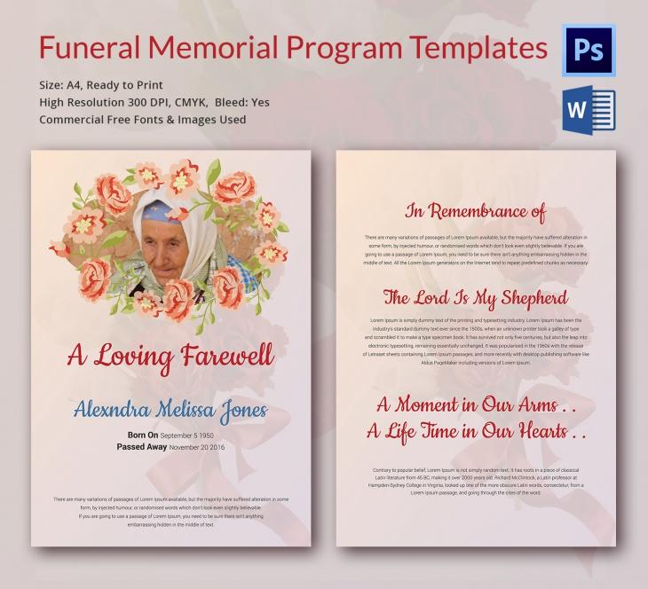 5 Funeral Memorial Templates \u2013 Free Word, PDF, PSD Documents