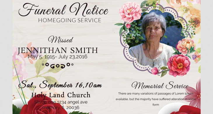 5 Funeral Notice Templates \u2013 Free Word, PDF, PSD Documents Download