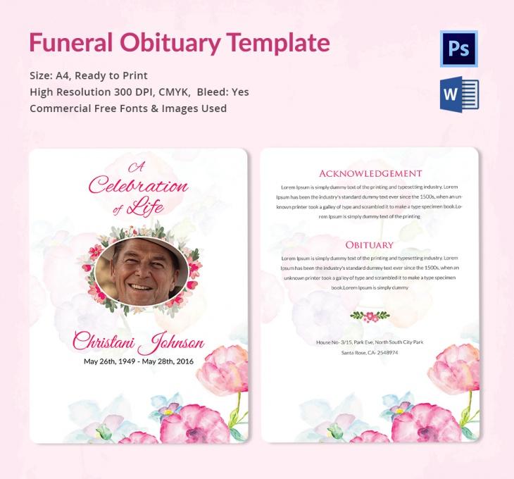 5 Funeral Obituary Templates u2013 Free Word, PDF, PSD Documents - funeral obituary template
