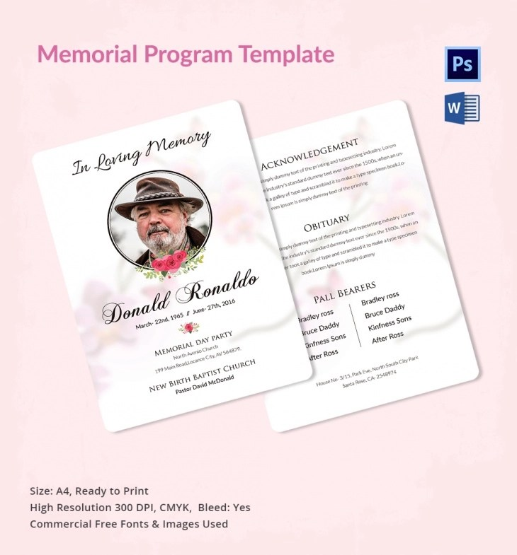 5 Memorial Program Templates \u2013 Free Word, PDF, PSD Documents - memorial program
