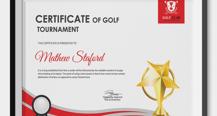 5 Golf Certificates - PSD  Word Designs Design Trends - Premium