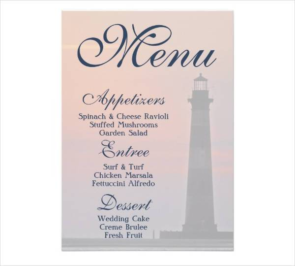 Sample Menu For Wedding Reception Images - Wedding Decoration Ideas