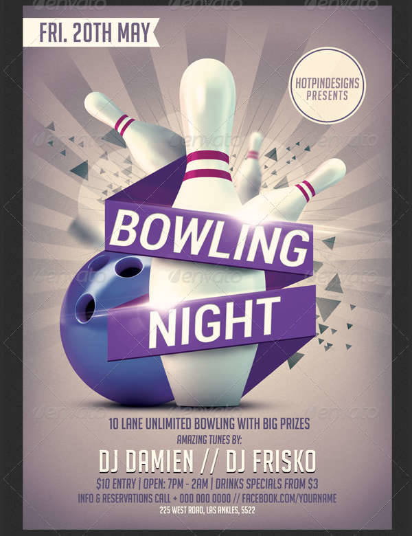 Bowling Flyer Template Free - Arch-times