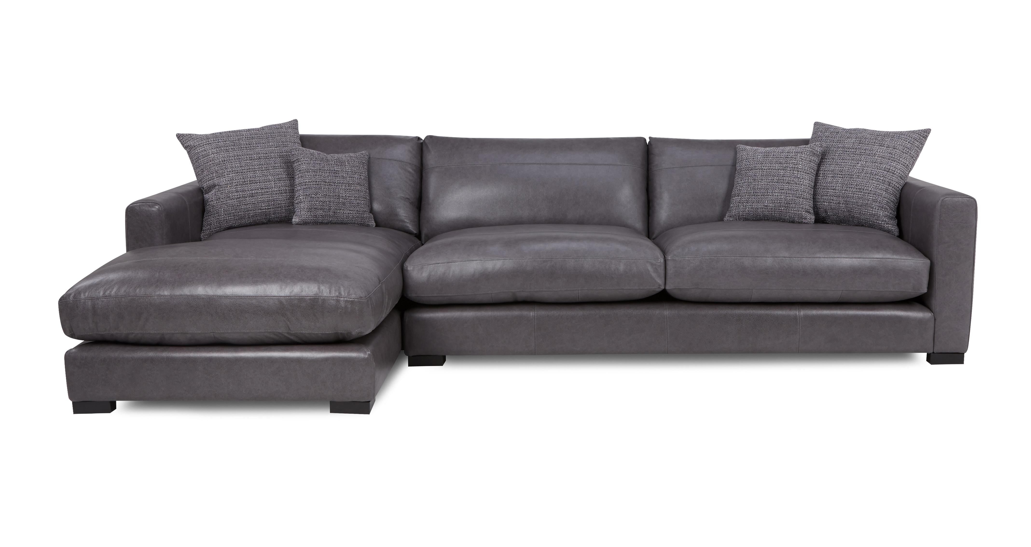 Trends Sofa Grau Dillon Leather Left Hand Facing Large Chaise End Sofa