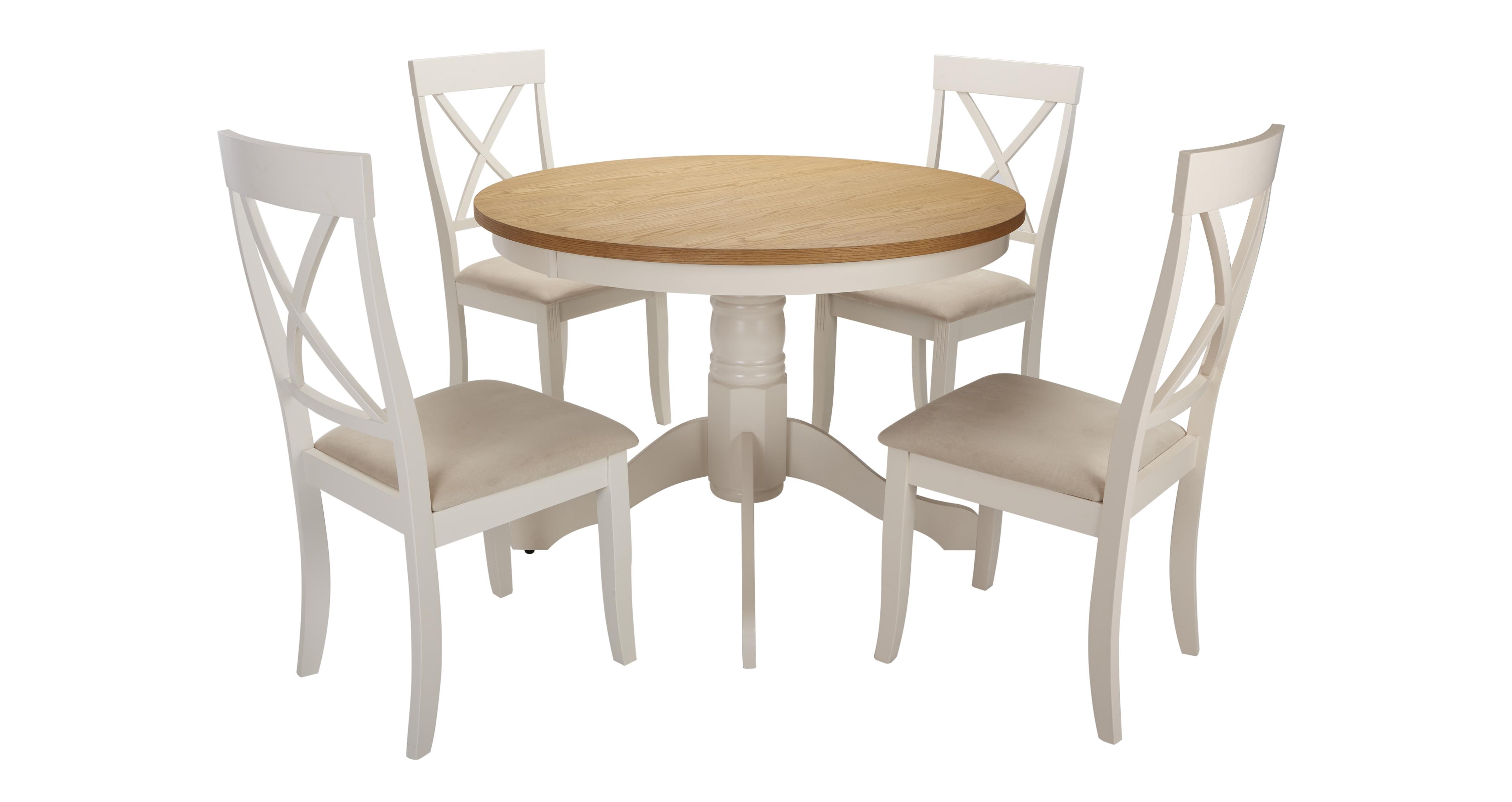 Evesham Round Pedestal Dining Table Set Of 4 Chairs Dfs