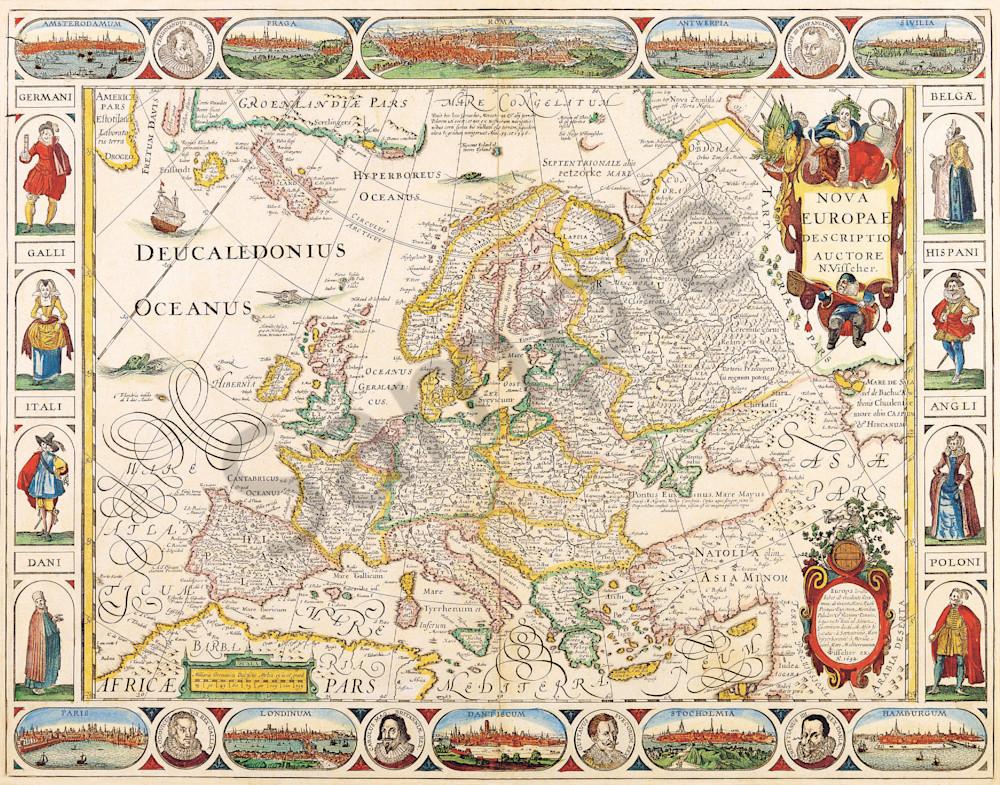 Antique Maps of the World Map of Europe Nicolas Visscher c 1658