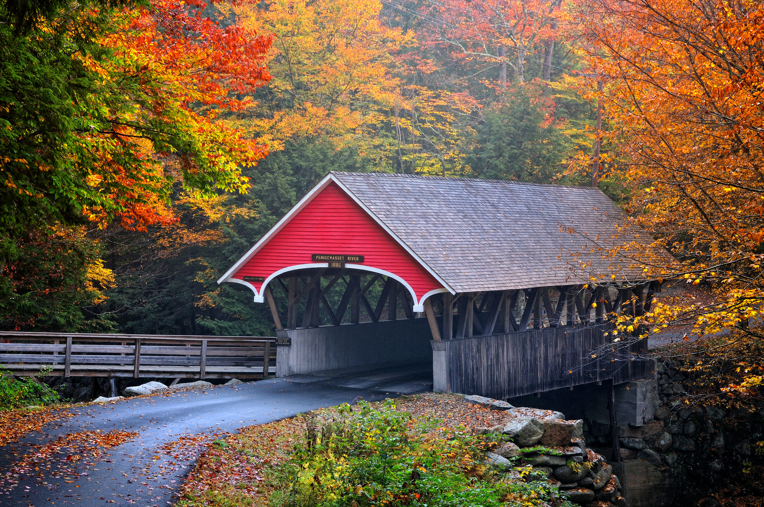 American Paint And Wallpaper Fall River The Flume Covered Bridge New Hampshire
